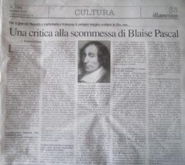 Una critica alla scommessa di Blaise Pascal